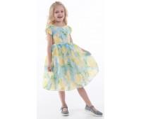 Платье 841М желто-голубое